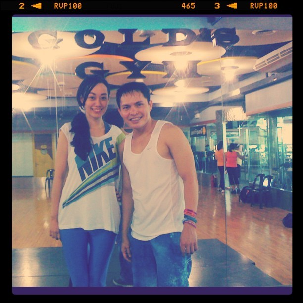 Trisha Claudine Sebastian with Gold's Gym Zumba Instructor Robert Caguimbal